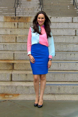 blue pencil skirt Express skirt