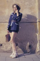 hasbeens for h&m shoes - H&M coat - lindex hat -  bag - new look shorts - vintag