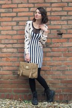 white H&M dress - black New Yorker leggings - camel  bag - nude H&M cardigan