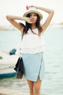 Hat-bag-sandals-skirt-top