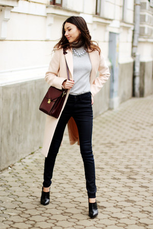 shoes - neutral coat - jeans - sweater - bag - necklace