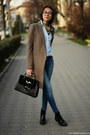 Boots-coat-jeans-shirt-bag