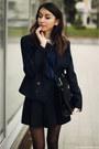 Blazer-shirt-bag-loafers-skirt