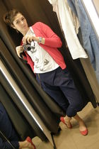 red Zara cardigan - white Zara t-shirt - blue Zara pants - red Zara shoes