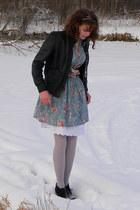 light blue red dress shoppe dress - black jacket - light purple tights - black M