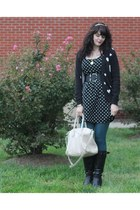 black Forever 21 dress - black DSW boots - teal H&M tights