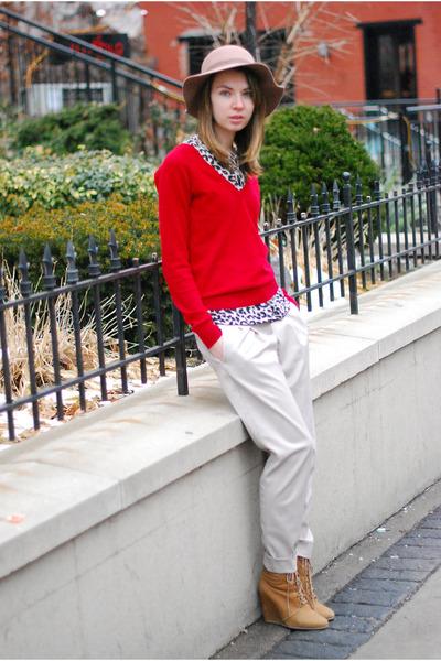red Zara sweater - off white slouchy pants - leopard Zara blouse