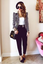 black bowler hat romwe hat - black striped blazer Yes Style blazer