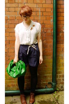 burnt orange Aldo shoes - chartreuse bag - navy Topshop shorts - ivory Zara blou