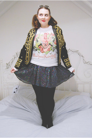 white unicorn meadham kirchhoff sweater - black beaded vintage jacket