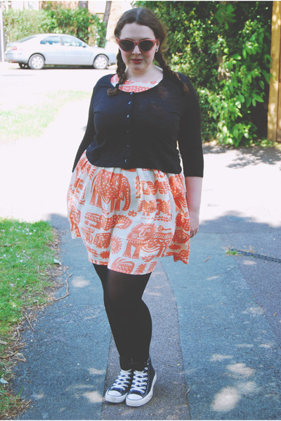 black basic River Island cardigan - orange safari Topshop dress