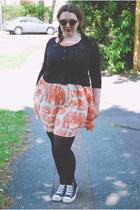 black basic River Island cardigan - orange safari Topshop dress