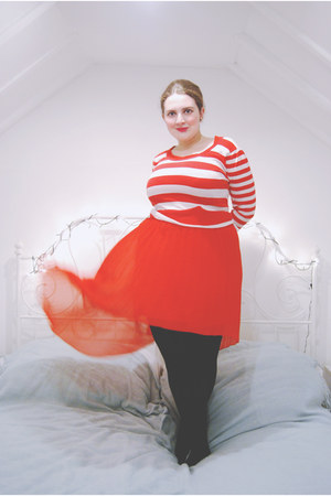 red assymetric new look dress - white striped Primark sweater
