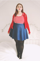 navy skater Topshop skirt - red striped Peacocks vest