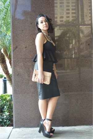 black cropped peplum hm top - black ankle strap Zara shoes