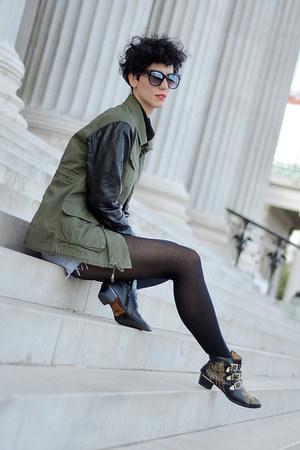 River Island jacket - wwwchoiescom boots - Levis shorts - wwwoasapcom sunglasses
