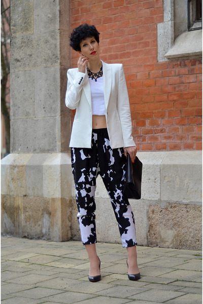 Zara blazer - RocksPaperMetal necklace - Zara pants