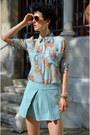 Randa-shoes-chicwish-shorts-giant-vintage-sunglasses-oasap-blouse