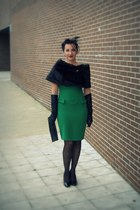 green Dorothy Perkins dress - dark brown Miss Sixty scarf - black BLANCO gloves