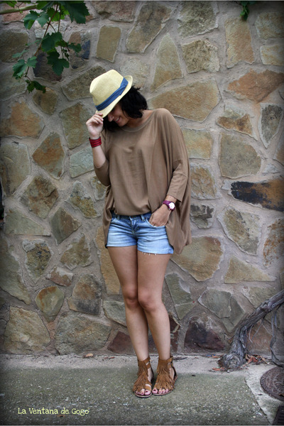 camel old sandals - eggshell old BLANCO hat - light blue old shorts