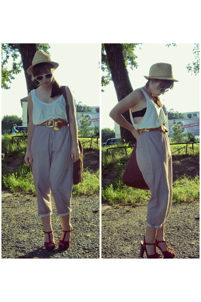 beige H&M hat - white vintage shirt - black Peacocks bra - brown vintage pants -