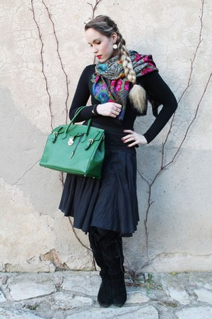 black house of harlow boots - hot pink versace scarf - green unknown brand bag