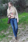 Blue-praio-jeans-cream-leather-vintage-jacket-dark-brown-badgley-mischka-bag