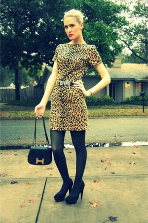leopard vintage dress - black Target tights - vintage Hermes bag - gold Michael