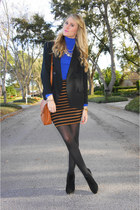 blue turtleneck JCrew top - black Dolce Vita boots