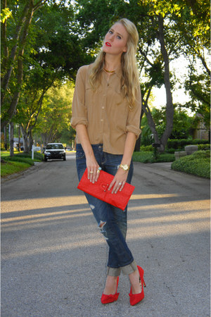 navy Forever 21 jeans - bronze thrifted vintage shirt - red thrifted vintage bag