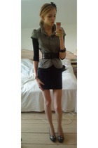Ichi jacket - asos blouse - Message belt - H&M skirt - Bumper shoes