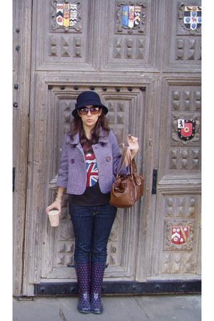 deep purple Camdem Town boots - amethyst Moonson coat - navy Uniqlo jeans - purp