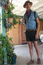beige hat - H&M scarf - blue H&M shirt - Urban Outfitters shorts - brown Urban O