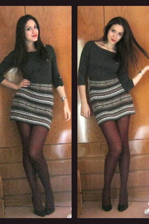 black Mango shoes - gray pull&bear dress - crimson socks