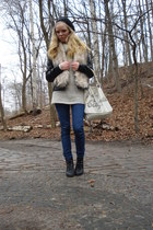 cream fake fur H&M scarf - black New Yorker jacket - cream H&M sweater