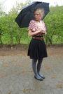 Black-h-m-shorts-brown-belt-gray-stockings-red-yessica-t-shirt-black-sho