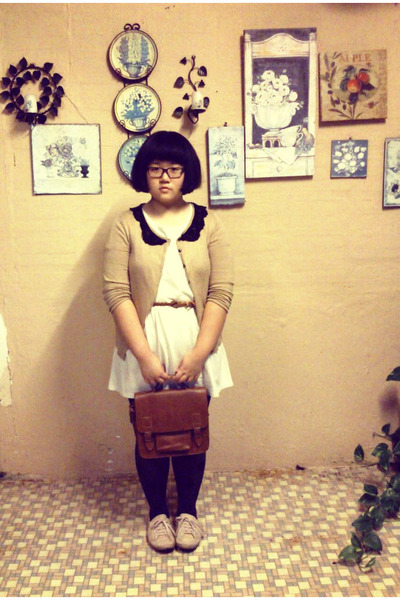 brown vintage bag - beige Topshop shoes - eggshell hometoomuchcom shirt