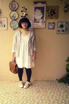 brown bag - beige shoes - white dress - silver jacket