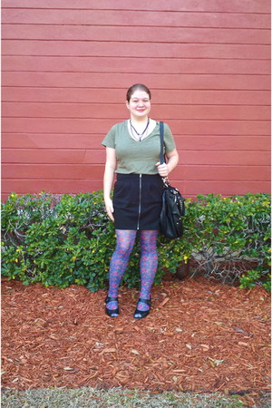 thrifted shoes - olive Target shirt - Beals tights - black zipper Forever 21 ski