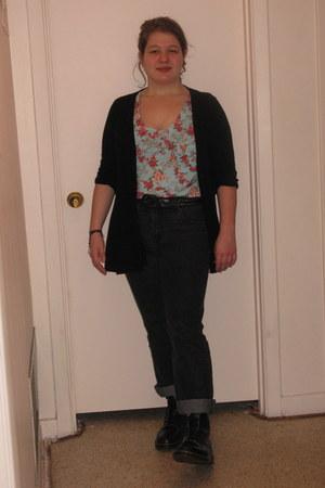 Doc Martins boots - Gloria Vanderbilt jeans - H&M sweater - Target Mossimo shirt