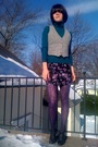 Green-walmart-top-gray-vintage-vest-black-forever21-skirt-gray-forever21-s