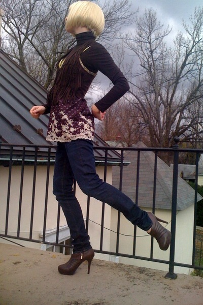 brown Target top - brown Forever21 shirt - blue H&M jeans - brown GoJane boots -