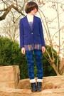 Blue-forever21-blazer-blue-forever21-top-white-forever21-blouse-blue-forev