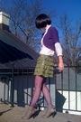 White-forever21-blouse-purple-old-navy-cardigan-green-forever21-skirt-purp