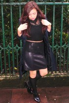 black Zara shoes - black Zara skirt - Topshop blouse - black Zara socks - blue Z