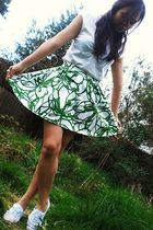 white Topshop shoes - white Zara top - green Topshop skirt