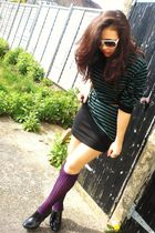 purple Zara socks - black Zara shoes - green Zara sweater - black H&M skirt - go