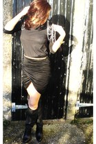 black Zara boots - black Zara skirt - black H&M dress - gold Zara belt - gold Mo