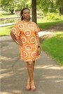 Light-orange-kaftan-bike-dress-light-brown-shoes-dsw-sandals-cuff-bracelet