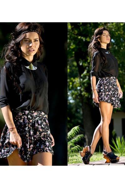 black blouse - burnt orange wedges - bubble gum skirt - tan necklace
